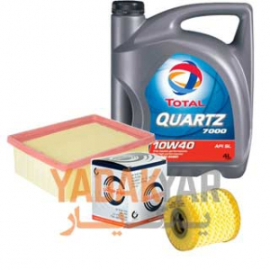روغن موتور پژو 206 10W40 توتال Quartz 7000 به همراه فیلتر روغن و فیلتر هوای سرکان