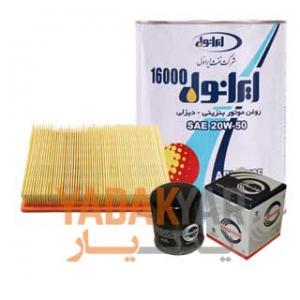 روغن موتور پراید ایرانول 16000 به همراه فیلتر روغن و فیلتر هوای سرکان