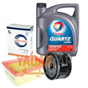 روغن موتور تندر 90 10W40 توتال Quartz 7000 به همراه فیلتر روغن و فیلتر هوای سرکان