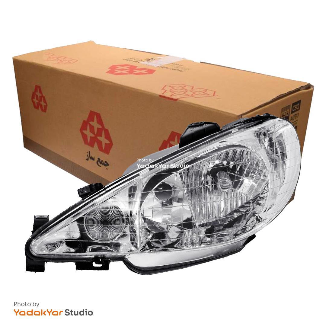 چراغ 206 صندوقدار SD V20 جلو چپ با موتور جمع ساز